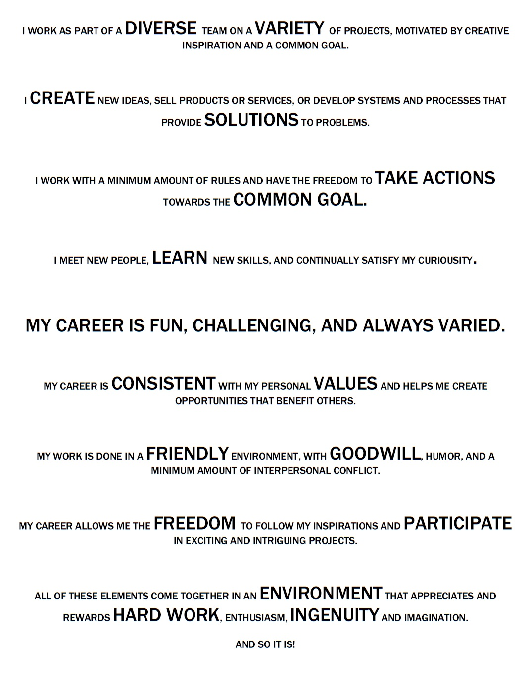 personal career vision statement examples